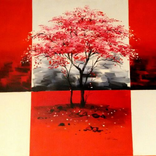 red tree2, 30 x 40 inch, sushil  tarbar ,abstract paintings,paintings for living room,canvas,acrylic color,30x40inch,GAL0144401