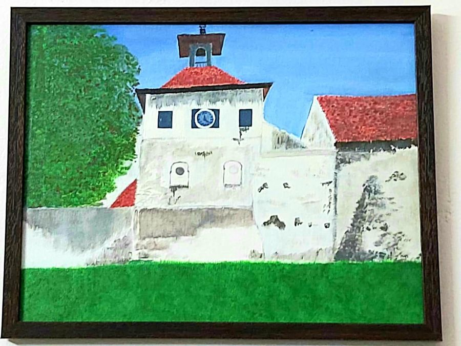 synagogue , 14 x 10 inch, isaac illikal,14x10inch,canvas,paintings,landscape paintings,paintings for living room,acrylic color,GAL02842240100