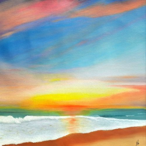 sunset painting, 15 x 24 inch,  nil rabha,15x24inch,canvas,paintings,landscape paintings,paintings for dining room,paintings for living room,paintings for office,paintings for kids room,paintings for hotel,paintings for school,oil color,GAL02231240106