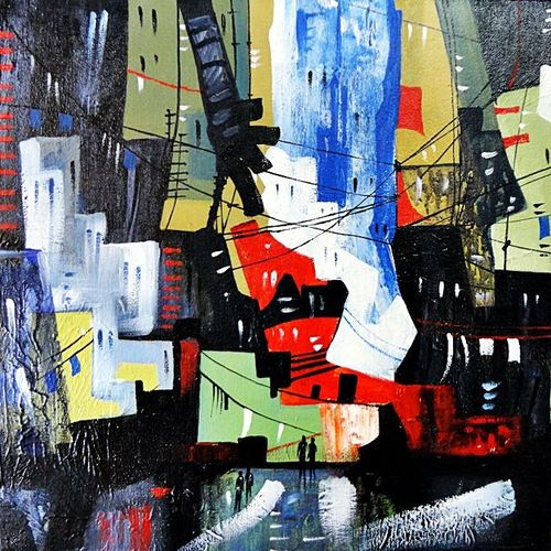 the city 15, 20 x 16 inch, kankana  pal,cityscape paintings,paintings for living room,horizontal,canvas,acrylic color,20x16inch,GAL08334011