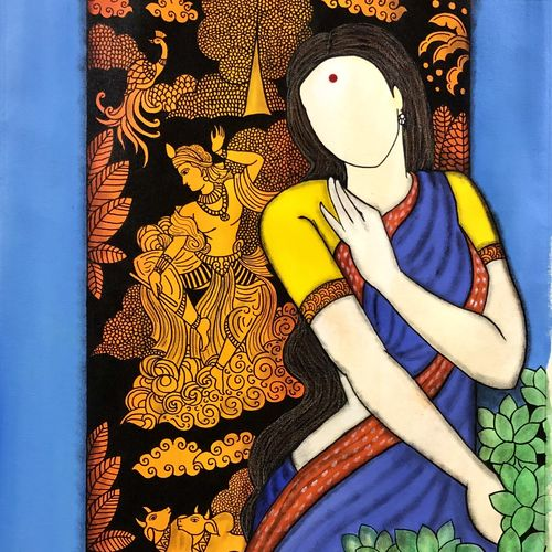 radhika, 27 x 34 inch, mrinal  dutt,27x34inch,canvas,paintings,figurative paintings,conceptual paintings,radha krishna paintings,contemporary paintings,paintings for dining room,paintings for living room,paintings for bedroom,paintings for office,paintings for bathroom,paintings for kids room,paintings for hotel,paintings for kitchen,paintings for school,paintings for hospital,acrylic color,GAL01311740116