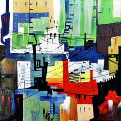 the city 16, 20 x 16 inch, kankana  pal,cityscape paintings,paintings for living room,horizontal,canvas,acrylic color,20x16inch,GAL08334012