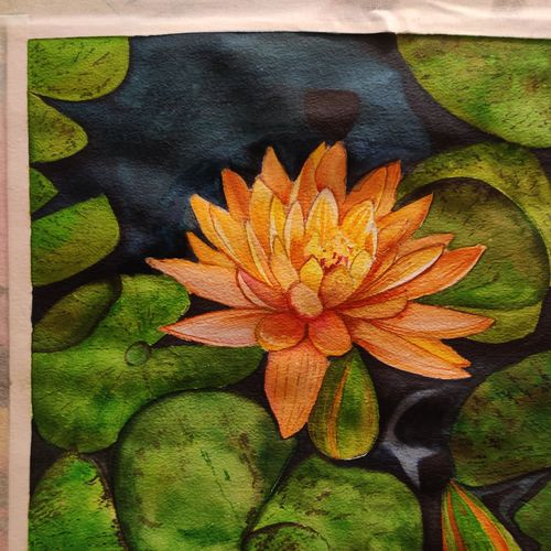 lotus flower, 12 x 16 inch, shilpa parate,12x16inch,handmade paper,flower paintings,watercolor,GAL02737040121