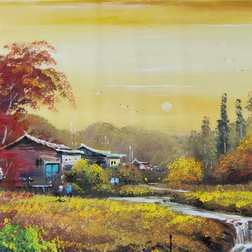 indian village sunrise, 60 x 34 inch, arpit jaggi,60x34inch,canvas,paintings,still life paintings,nature paintings   scenery paintings,paintings for living room,paintings for bedroom,paintings for hotel,acrylic color,GAL02621040125