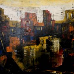 the city 17, 20 x 16 inch, kankana  pal,cityscape paintings,paintings for living room,paintings for office,vertical,canvas,acrylic color,20x16inch,GAL08334013
