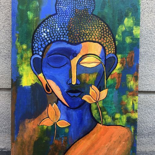 buddha in bliss, 12 x 16 inch, ravina jain,12x16inch,canvas,abstract paintings,buddha paintings,paintings for dining room,paintings for living room,paintings for office,paintings for hotel,paintings for school,paintings for hospital,paintings for dining room,paintings for living room,paintings for office,paintings for hotel,paintings for school,paintings for hospital,acrylic color,GAL02833640130