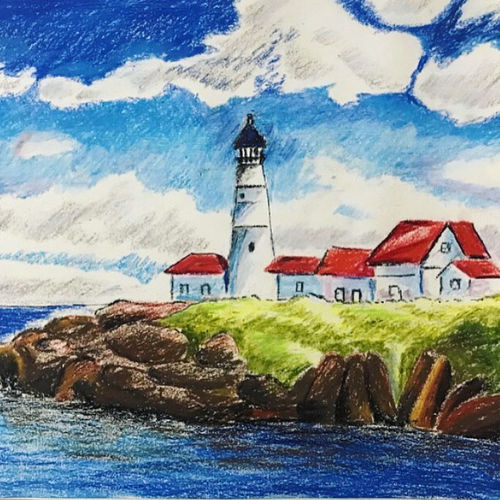 lighthouse 1, 17 x 12 inch, sowmika anjuru,17x12inch,thick paper,paintings,landscape paintings,nature paintings | scenery paintings,paintings for dining room,paintings for living room,paintings for bedroom,paintings for kids room,paintings for hotel,paintings for school,pastel color,paper,GAL02829540131