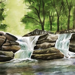 forest waterfall 3, 33 x 24 inch, sowmika anjuru,33x24inch,handmade paper,paintings,wildlife paintings,landscape paintings,nature paintings | scenery paintings,paintings for dining room,paintings for living room,paintings for bedroom,paintings for office,paintings for kids room,paintings for hotel,paintings for kitchen,watercolor,paper,GAL02829540138