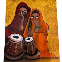 indian women folk musicians, 24 x 36 inch, gaurangi gupta,24x36inch,canvas,paintings,folk art paintings,conceptual paintings,portrait paintings,abstract expressionism paintings,art deco paintings,expressionism paintings,impressionist paintings,realism paintings,street art,paintings for dining room,paintings for living room,paintings for bedroom,paintings for office,paintings for hotel,paintings for kitchen,paintings for school,paintings for hospital,acrylic color,GAL02814640143