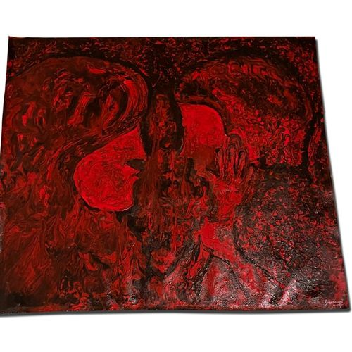red passion two lovers- ideal for bedrooms, 41 x 37 inch, gaurangi gupta,41x37inch,canvas,paintings,abstract paintings,modern art paintings,conceptual paintings,portrait paintings,expressionism paintings,impressionist paintings,pop art paintings,love paintings,paintings for dining room,paintings for living room,paintings for bedroom,paintings for hotel,paintings for hospital,paintings for dining room,paintings for living room,paintings for bedroom,paintings for hotel,paintings for hospital,acrylic color,mixed media,GAL02814640144
