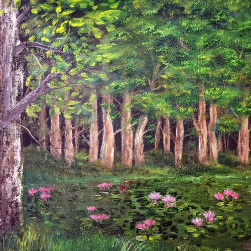 forest swamp, 20 x 16 inch, krishna ghosh,20x16inch,canvas,landscape paintings,nature paintings | scenery paintings,oil color,GAL02828840145