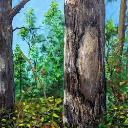 the tree bark, 12 x 12 inch, krishna ghosh,12x12inch,canvas,paintings,landscape paintings,nature paintings | scenery paintings,oil color,GAL02828840146
