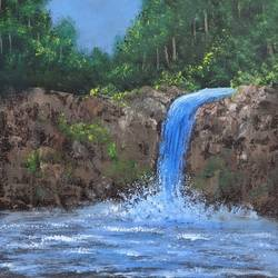 waterfall in wilderness, 12 x 16 inch, krishna ghosh,12x16inch,canvas,paintings,landscape paintings,nature paintings | scenery paintings,oil color,GAL02828840147
