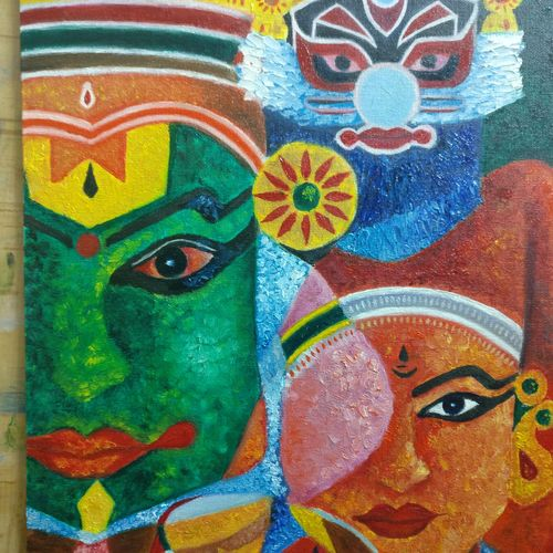 kathakali, 16 x 12 inch, krishna ghosh,16x12inch,canvas,abstract paintings,oil color,GAL02828840148