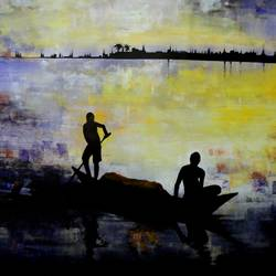 the fisherman, 27 x 20 inch, kankana  pal,nature paintings,paintings for living room,paintings for office,horizontal,paper,acrylic color,27x20inch,GAL08334015Nature,environment,Beauty,scenery,greenery