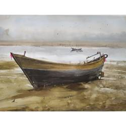 this is along boat in a surface, 13 x 22 inch, soyli saha,13x22inch,thick paper,landscape paintings,watercolor,GAL0606540152
