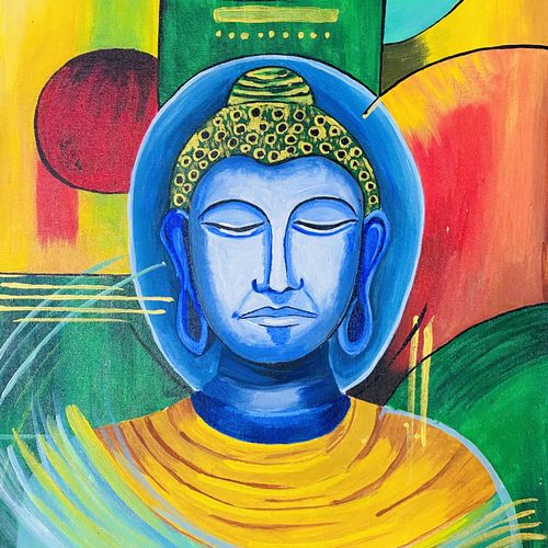 buddha acrylic painting for home decor, 16 x 20 inch, upma bawa,16x20inch,canvas,paintings,buddha paintings,figurative paintings,religious paintings,paintings for dining room,paintings for living room,paintings for bedroom,paintings for office,paintings for hotel,paintings for hospital,acrylic color,GAL02836740155