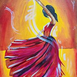dancing girl acrylic painting for wall decor, 12 x 16 inch, upma bawa,12x16inch,canvas,paintings,figurative paintings,modern art paintings,still life paintings,art deco paintings,illustration paintings,love paintings,paintings for dining room,paintings for living room,paintings for bedroom,paintings for office,paintings for hotel,paintings for school,paintings for hospital,acrylic color,GAL02836740156