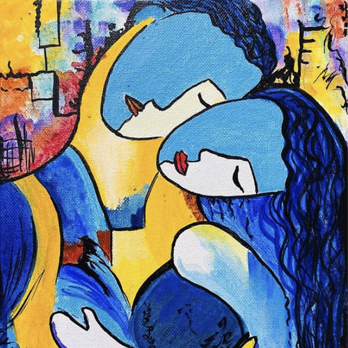 couple acrylic painting for wall decor, 8 x 10 inch, upma bawa,8x10inch,canvas,paintings,abstract paintings,figurative paintings,modern art paintings,art deco paintings,expressionism paintings,paintings for dining room,paintings for living room,paintings for bedroom,paintings for hotel,acrylic color,GAL02836740158