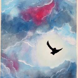sky is the limit, 12 x 16 inch, divyanshi singhal,12x16inch,canvas,paintings,nature paintings | scenery paintings,acrylic color,GAL02048340161