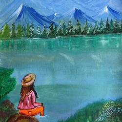the inspiration , 12 x 16 inch, divyanshi singhal,12x16inch,canvas,paintings,nature paintings | scenery paintings,acrylic color,GAL02048340162