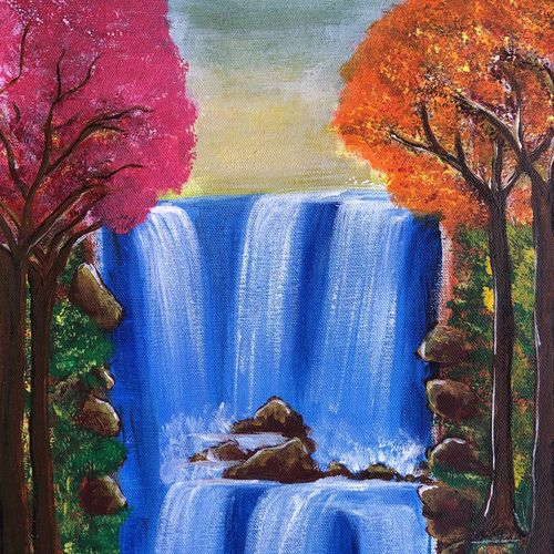 waterfall with colorful trees , 12 x 16 inch, divyanshi singhal,12x16inch,canvas,paintings,nature paintings | scenery paintings,acrylic color,GAL02048340163