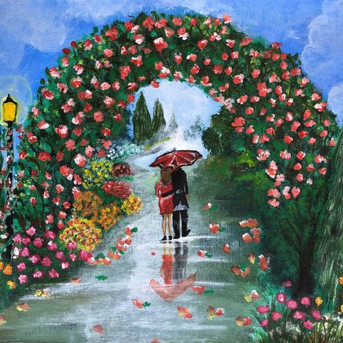 garden, 16 x 12 inch, divyanshi singhal,16x12inch,canvas,paintings,nature paintings | scenery paintings,acrylic color,GAL02048340164