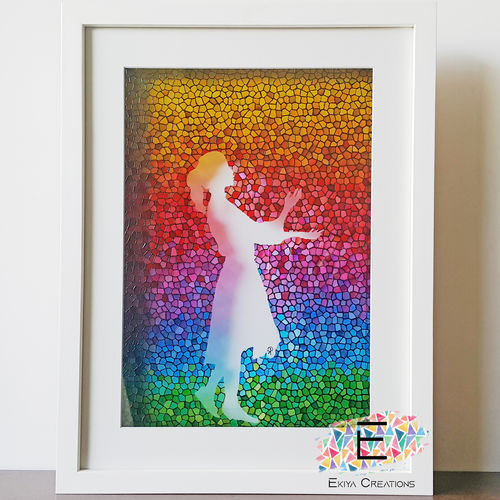 glass painted rainbow silhouette , 17 x 22 inch, puja k,17x22inch,acrylic glass,paintings,abstract paintings,conceptual paintings,art deco paintings,paintings for dining room,paintings for living room,paintings for bedroom,paintings for kids room,paintings for hotel,paintings for school,paintings for hospital,glass,GAL02756540165