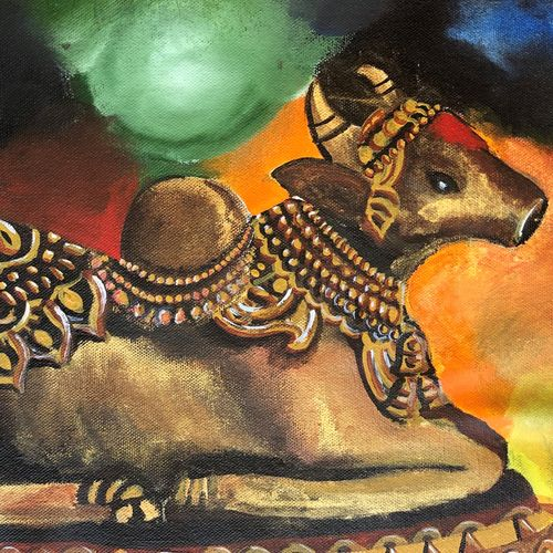 nandi, 16 x 12 inch, divyanshi singhal,16x12inch,canvas,religious paintings,lord shiva paintings,acrylic color,GAL02048340166