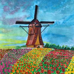 the tulip windmill, 11 x 14 inch, divyanshi singhal,11x14inch,paper,paintings,cityscape paintings,conceptual paintings,nature paintings | scenery paintings,acrylic color,mixed media,poster color,watercolor,GAL02048340170