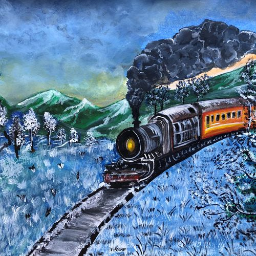 the snowy train, 11 x 15 inch, divyanshi singhal,11x15inch,cartridge paper,paintings,cityscape paintings,nature paintings | scenery paintings,acrylic color,mixed media,GAL02048340173