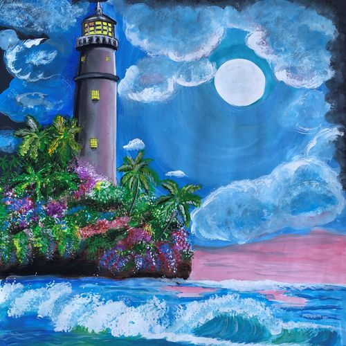 moonlite lighthouse, 11 x 13 inch, divyanshi singhal,11x13inch,drawing paper,paintings,nature paintings   scenery paintings,acrylic color,mixed media,GAL02048340174