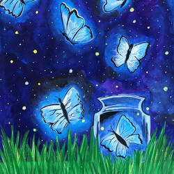 the night butterflies, 11 x 14 inch, divyanshi singhal,11x14inch,paper,paintings,conceptual paintings,nature paintings | scenery paintings,acrylic color,mixed media,GAL02048340175