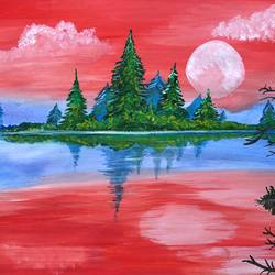the pink winter, 13 x 11 inch, divyanshi singhal,13x11inch,paper,paintings,landscape paintings,nature paintings | scenery paintings,acrylic color,mixed media,GAL02048340176