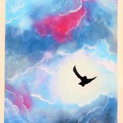 fly high in the sky, 12 x 16 inch, divyanshi singhal,12x16inch,canvas,landscape paintings,nature paintings | scenery paintings,acrylic color,GAL02048340178