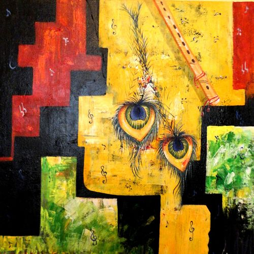 the music of krishna 1, 20 x 24 inch, kankana  pal,conceptual paintings,religious paintings,paintings for living room,paintings for bedroom,radha krishna paintings,vertical,canvas,acrylic color,20x24inch,GAL08334018,krishna,love,lord,lordkrishna,flute,peace