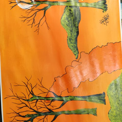 orange land scap, 30 x 22 inch, arvind kumar gupta,30x22inch,drawing paper,paintings,abstract paintings,abstract expressionism paintings,paintings for dining room,paintings for living room,paintings for bedroom,paintings for office,paintings for kids room,paintings for hotel,paintings for kitchen,paintings for school,paintings for hospital,acrylic color,paper,GAL02596640180