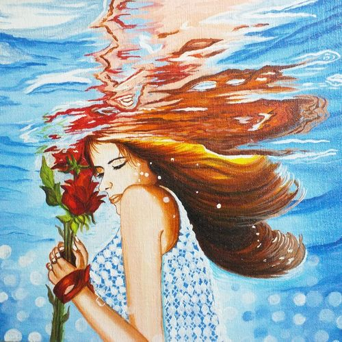 beautiful lady within water , 12 x 16 inch, sandhya kumari,12x16inch,canvas board,paintings,figurative paintings,flower paintings,nature paintings | scenery paintings,expressionism paintings,photorealism,realism paintings,realistic paintings,love paintings,paintings for dining room,paintings for living room,paintings for bedroom,paintings for office,paintings for bathroom,paintings for kids room,paintings for hotel,paintings for kitchen,paintings for school,paintings for hospital,acrylic color,GAL0365940183
