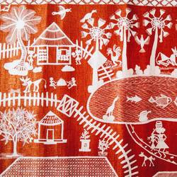 warli village, 24 x 18 inch, srimonti dutta,24x18inch,handmade paper,paintings,folk art paintings,landscape paintings,warli paintings,paintings for living room,paintings for bedroom,paintings for office,paintings for hotel,paintings for hospital,acrylic color,pen color,GAL02833840184
