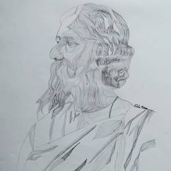 rabindranath tagore portrait, 11 x 14 inch, srimonti dutta,11x14inch,drawing paper,drawings,figurative drawings,portrait drawings,paintings for living room,paintings for bedroom,paintings for office,paintings for kids room,paintings for hotel,paintings for school,paintings for hospital,graphite pencil,GAL02833840185