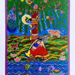 radha krishna, 14 x 18 inch, madhavi jha,14x18inch,canvas,paintings,folk art paintings,religious paintings,nature paintings | scenery paintings,radha krishna paintings,love paintings,madhubani paintings | madhubani art,paintings for dining room,paintings for living room,paintings for bedroom,paintings for hotel,paintings for school,paintings for dining room,paintings for living room,paintings for bedroom,paintings for hotel,paintings for school,acrylic color,pen color,GAL02713240194
