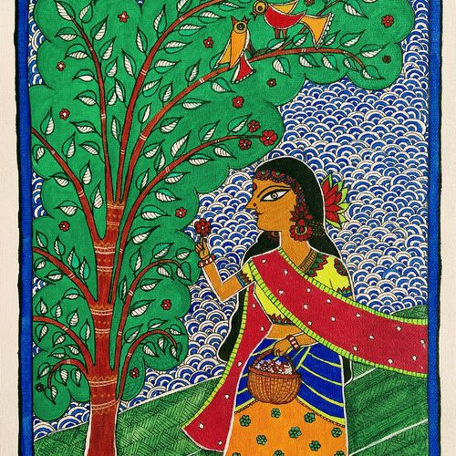 girl in garden plucking flowers, 12 x 16 inch, madhavi jha,12x16inch,canvas,paintings,folk art paintings,nature paintings   scenery paintings,madhubani paintings   madhubani art,paintings for dining room,paintings for living room,paintings for bedroom,paintings for office,paintings for bathroom,paintings for kids room,paintings for hotel,paintings for kitchen,paintings for school,paintings for hospital,acrylic color,pen color,GAL02713240195