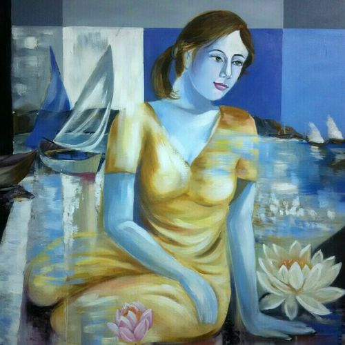 dream2, 24 x 30 inch, sushil  tarbar ,figurative paintings,paintings for bedroom,canvas,acrylic color,24x30inch,GAL0144402