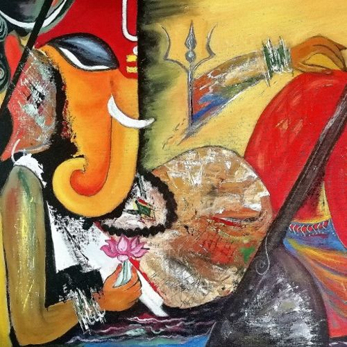 lord ganesha, 24 x 20 inch, pushpa nath jha,24x20inch,canvas,paintings,figurative paintings,religious paintings,paintings for dining room,paintings for living room,paintings for bedroom,acrylic color,GAL01805640200
