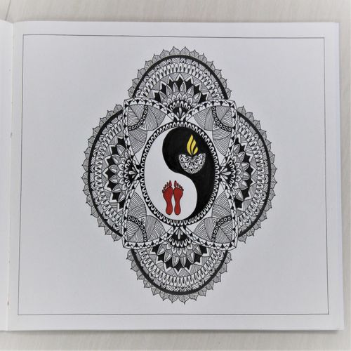 mandala drawing diwali puja theme, 8 x 11 inch, manisha g,8x11inch,drawing paper,drawings,folk drawings,paintings for dining room,paintings for living room,paintings for bedroom,paintings for office,paintings for hospital,ink color,paper,GAL02842040203