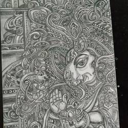 vighnaharta, 8 x 10 inch, rayana saha,8x10inch,drawing paper,drawings,ganesha drawings,paintings for living room,paintings for office,paintings for school,paintings for hospital,paper,GAL01304640211