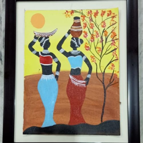 african ladies, 14 x 18 inch, raghav kaushal,14x18inch,canvas,paintings,realism paintings,paintings for bedroom,acrylic color,GAL02852140215