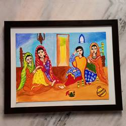 village ladies, 14 x 18 inch, raghav kaushal,14x18inch,canvas,paintings,paintings for dining room,acrylic color,GAL02852140216