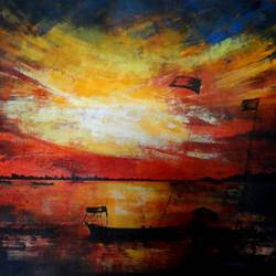 the sunset, 27 x 20 inch, kankana  pal,landscape paintings,nature paintings,paintings for living room,paintings for bedroom,paintings for office,horizontal,paper,acrylic color,27x20inch,GAL08334022Nature,environment,Beauty,scenery,greenery