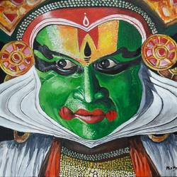 kathakali, 14 x 18 inch, mani  p h s,14x18inch,canvas board,paintings,folk art paintings,art deco paintings,expressionism paintings,realism paintings,paintings for living room,paintings for office,acrylic color,GAL02422540232